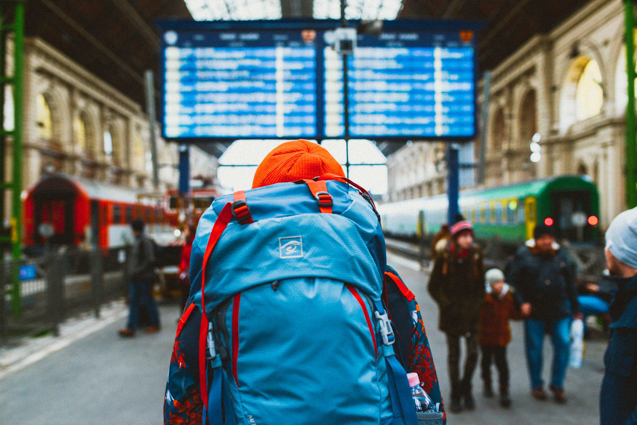 Blue Destination Rear View Rucksack Train Train Station Transport Transportation Travel Traveling Traveling Home For The Holidays Travelling