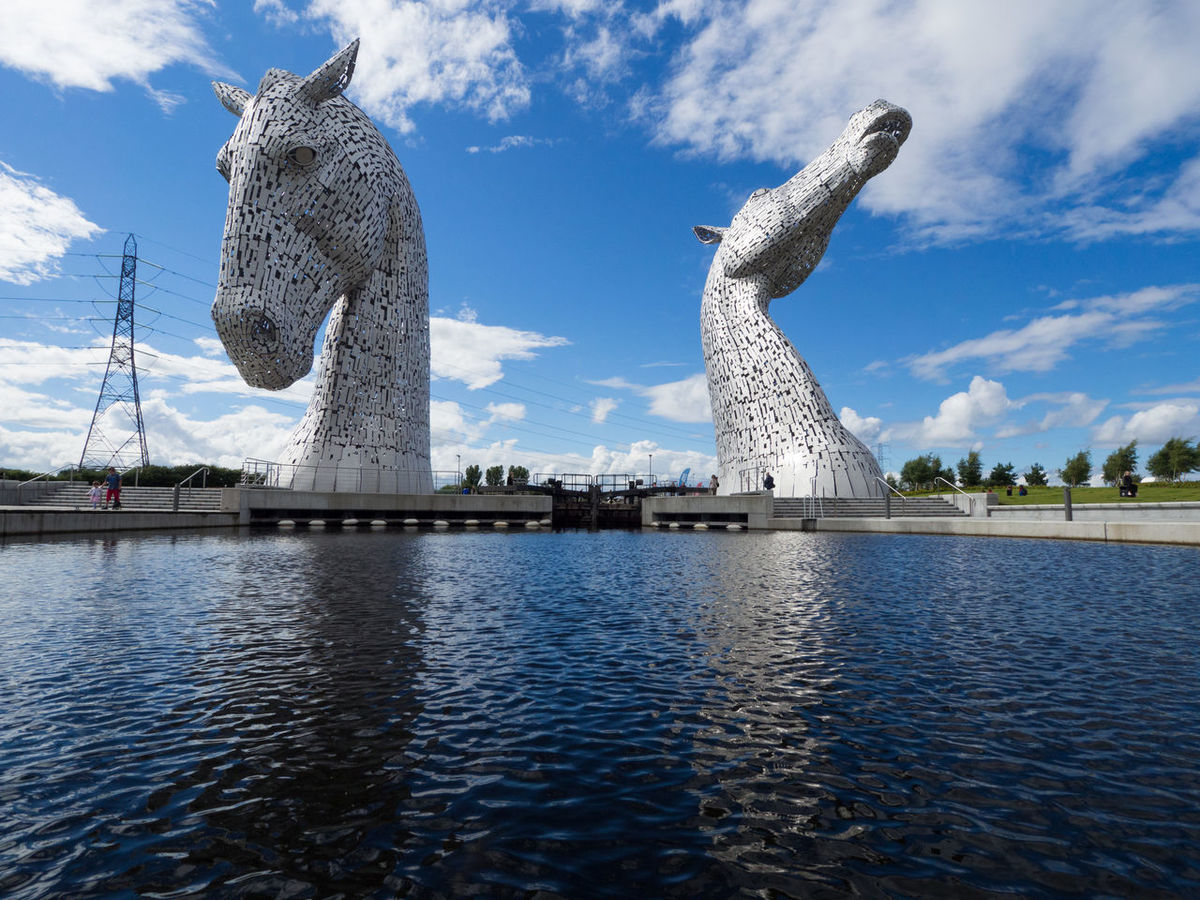 The Kelpies Kelpies Of Falkirk Scotland Statue Travel Travel Photography Two Horses Day Horse Kelpies  Large No People Outdoors Pair Sky Tourism Travel Destinations Two