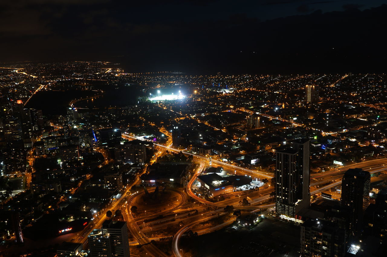 cityscape, city, illuminated, night, architecture, building exterior, skyscraper, no people, modern, built structure, aerial view, travel destinations, outdoors, sky