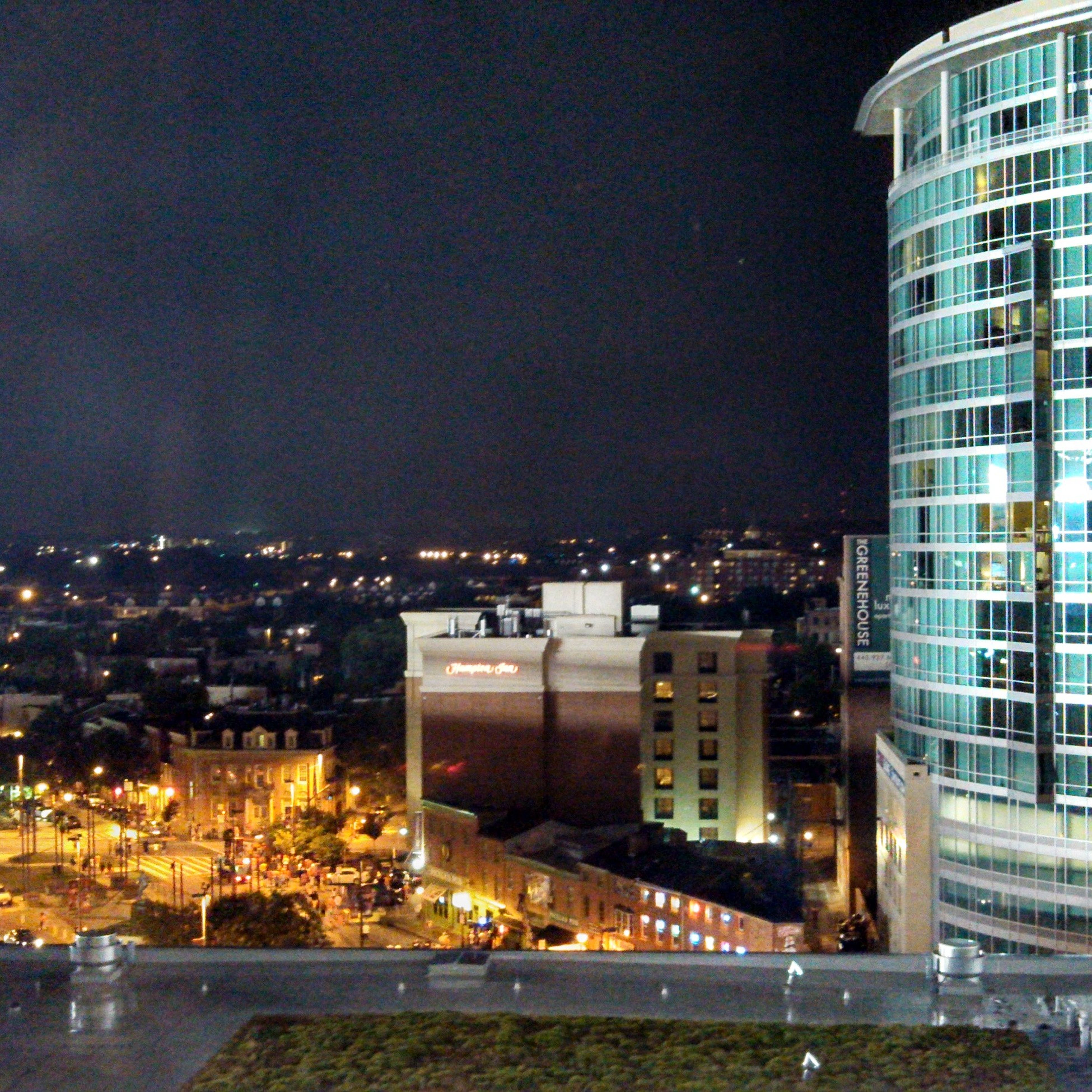 building exterior, architecture, built structure, city, night, cityscape, illuminated, residential district, residential building, clear sky, skyscraper, modern, crowded, copy space, residential structure, office building, city life, high angle view, building, outdoors