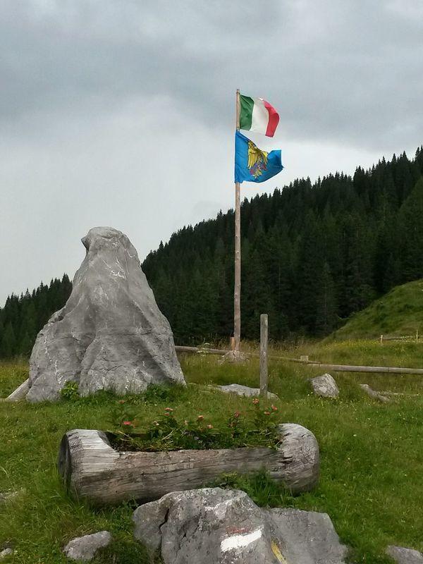 Flags Mountain View Pines Forest Italy Flag Friuli Venezia Giulia Malga Rainy Day Casera