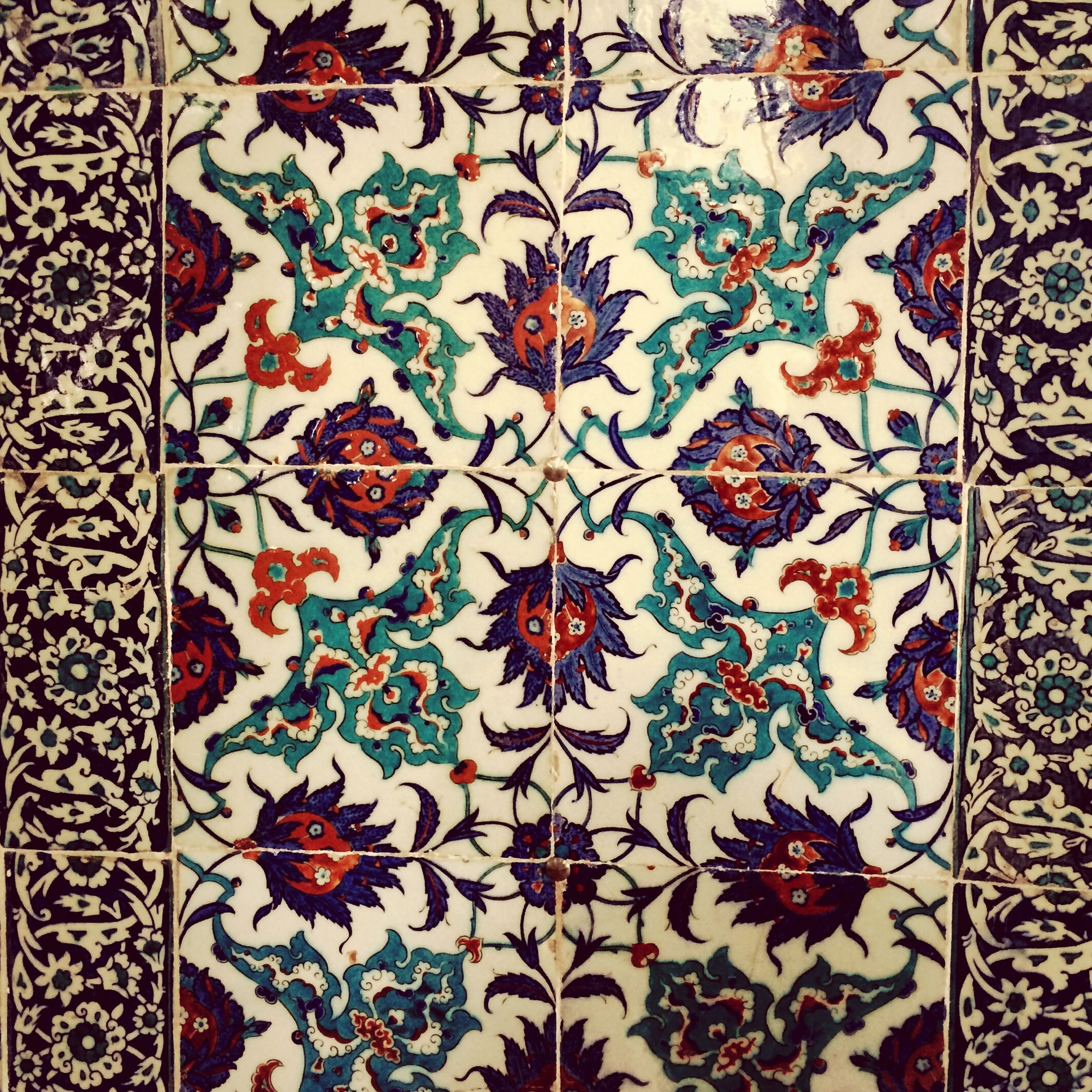 indoors, pattern, design, full frame, art and craft, floral pattern, art, creativity, backgrounds, wall - building feature, textured, ceiling, decoration, flooring, multi colored, wall, ornate, close-up, tile, no people