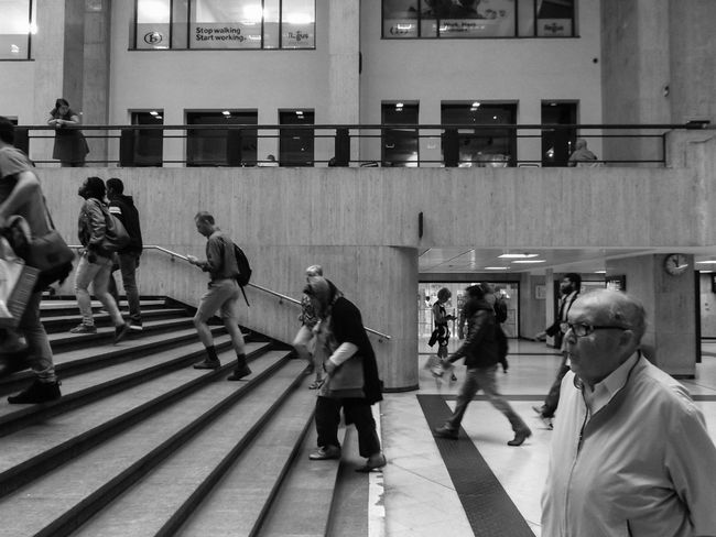 Taking Its Time. Old Man Wise People Rush Stairs Notes From The Underground Train Station Candid Hall Everyday Lives Notes From Underground Casual Clothing City City Life Lifestyles Bnwphotography Black And White