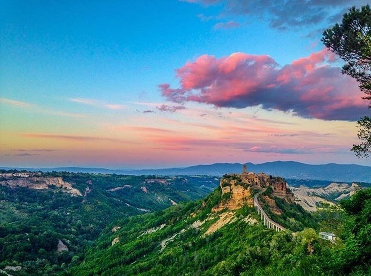 Italy Nature Sunset Mountain Landscape Tree Civita Di Bagnoregio Cloud - Sky Memories Architecture