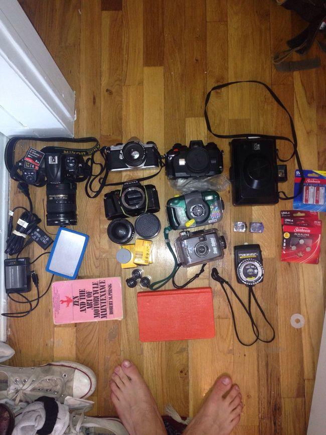 All this for a weekend trip. Nikonos Nikon D300 Pentax Me Super Kodak Tri-X 400 Kodak Gold Velvia100 Film Pentax P3