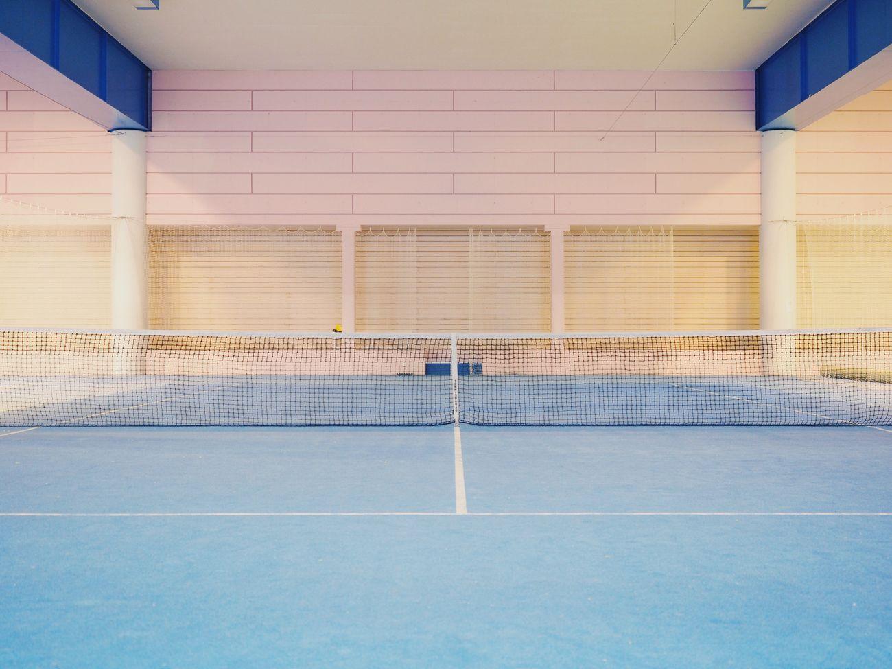 Sport Tennis Court Indoors  Architecture Tennis Net Symmetry Minimalism Minimalobsession Minimalist Architecture Pastel Colors Pastel Built Structure Art Leukerbad Switzerland Millennial Pink