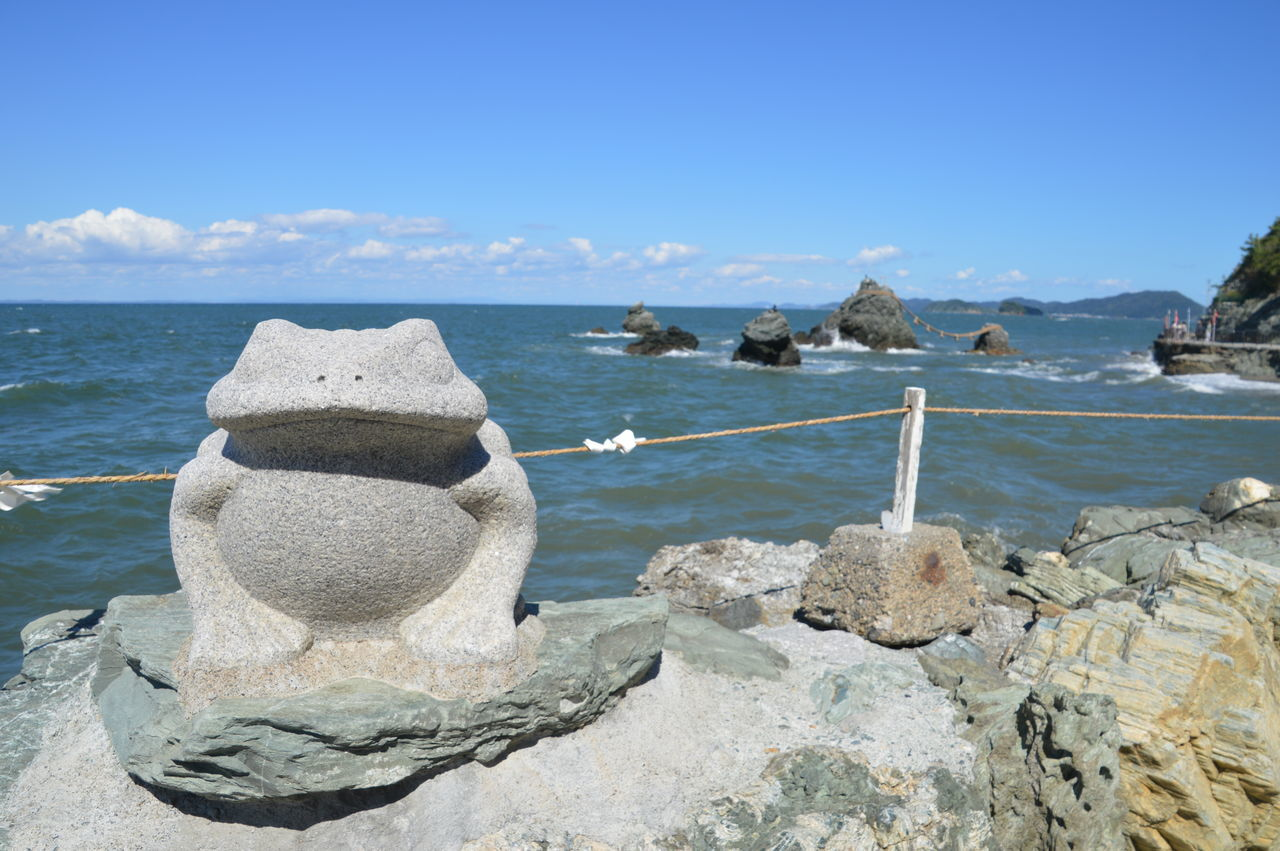 Frog Ise Meoto Iwa Meotoiwa No People Rock - Object Rocks Scenics Sea Statue Water Wedded