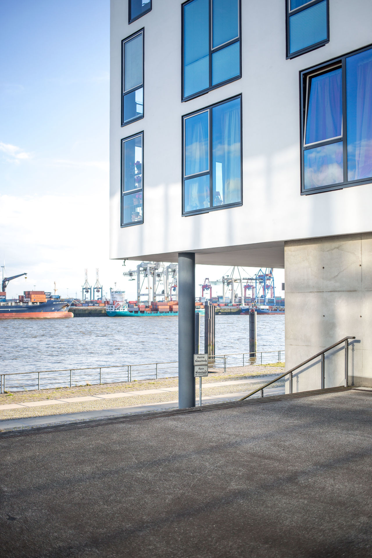 Architecture Blue Building Building Exterior Built Structure City City Life Cloud Cloud - Sky Container Ship Day Habor Hamburg Hamburg Harbour Modern Office Building Residential Building Ships Sky Water Windoes