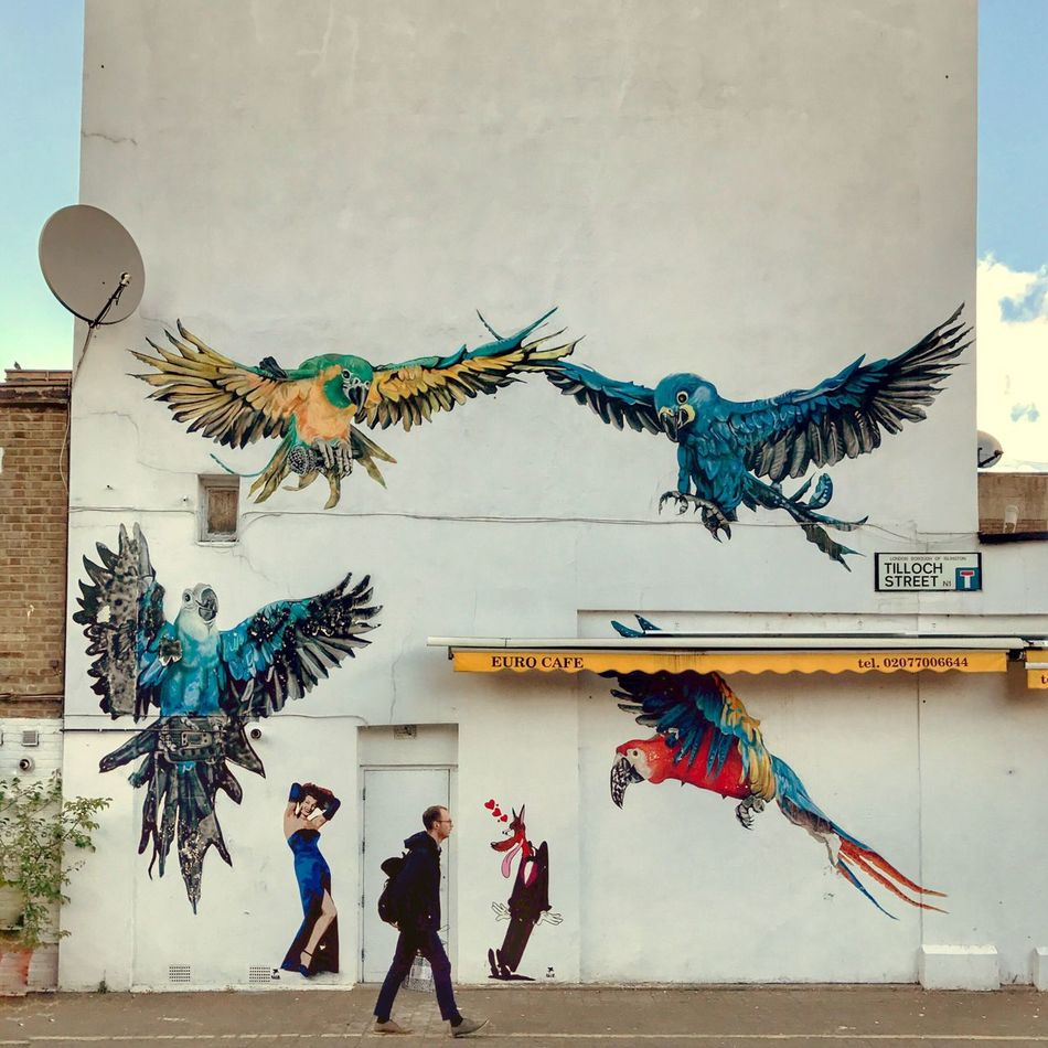 Art And Craft Creativity Real People Bird Graffiti London