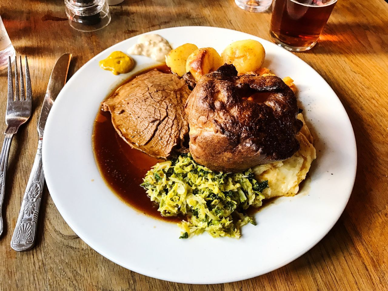 Roast beef Sunday lunch in Weardale, County Durham, England. Photo by Tom Bland. Food And Drink Plate Food Ready-to-eat Indoors  Indulgence Temptation Table England IPhoneography IPhone Roast Beef Sunday Lunch Pub British Food Traditional English Food Classic Cuisine British English Pub Lunch Lunch Beef Yorkshire Pudding