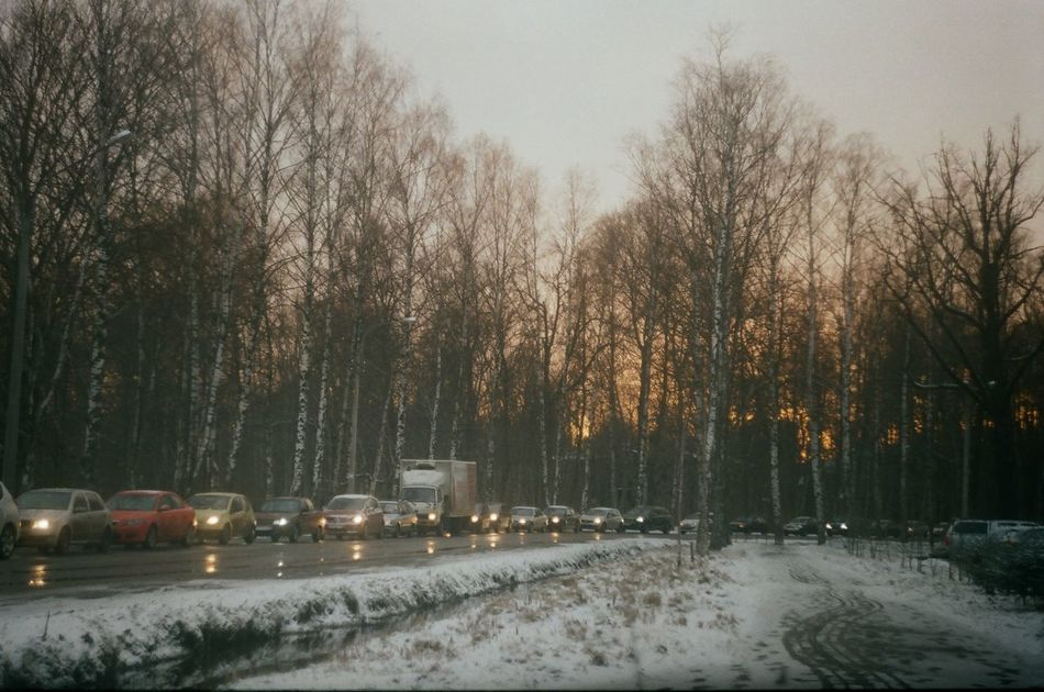 35mm 35mm Film Beauty In Nature Car City Cold Temperature Day Horizon Land Vehicle Nature No People Scenics Sky Snow Sunlight Sunset Sunshine Transportation Tree Weather Winter