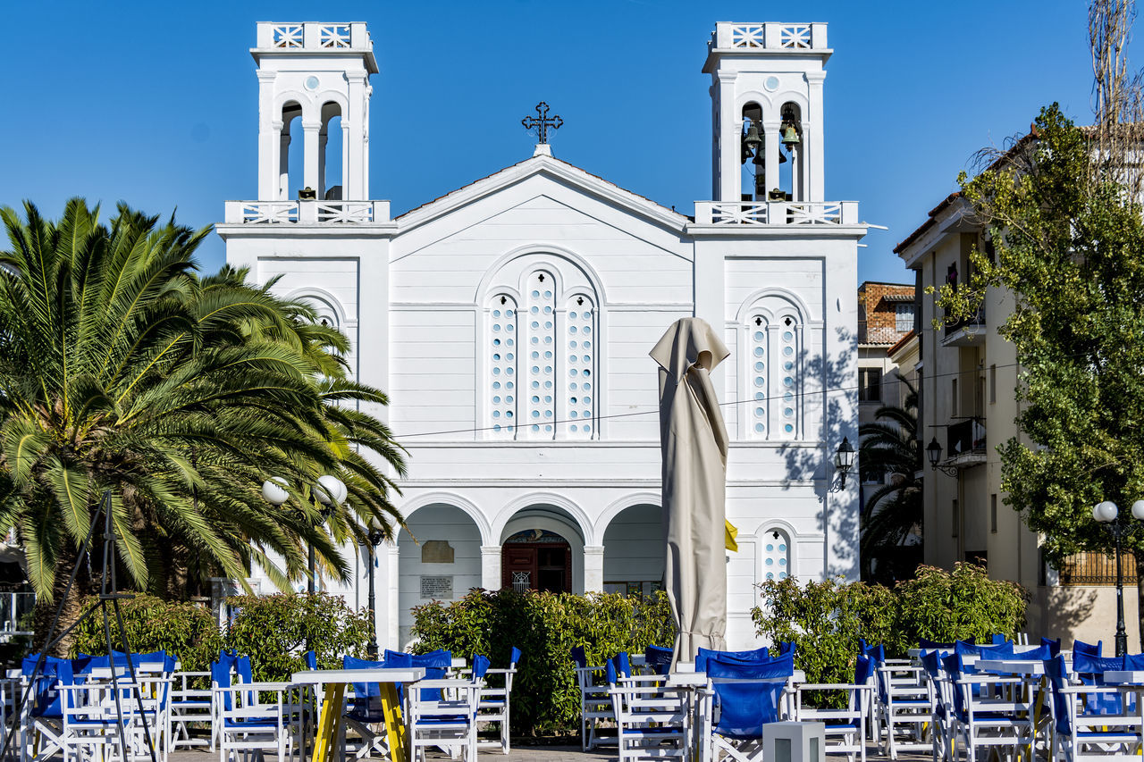 church Blue Chairs Chairs And Tables Palmtree Parasols
