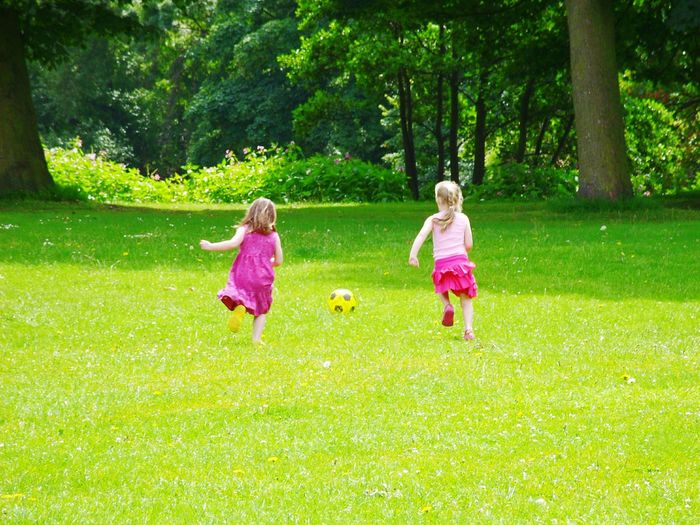 Sisters Football Play Summer Summertime England Kirkstall Abbey Pink Pretty Football Fever Competative Race Siblings Sibling Rivalry