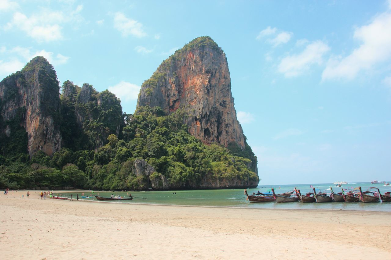 Thailand, railay Beach Beach Day Beauty In Nature Day L+krabi Longtail Boat Nature Nautical Vessel No People Outdoors Railay Beach Scenics Sea Sky Thailand Tranquil Scene Tranquility Travel Destinations Vacations Water