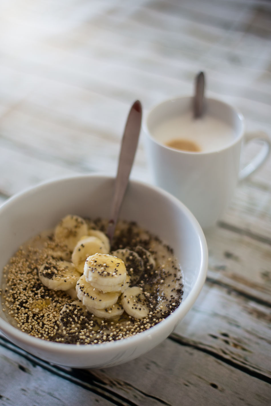 Bowl Breakfast Breakfast Time Breakfast ♥ Cappuccino Chia Seeds Close-up Coffee Coffee Time Day Drink Indoors  Milk Morning Morning Light No People Porridge Porridge Time Porridge! Seed Vertical