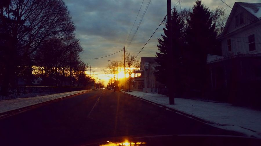 No People Sunset In The Ghetto Outdoors Ford Exploder! Long Distance Shot 18th Street Erie, PA Paved Road Tree