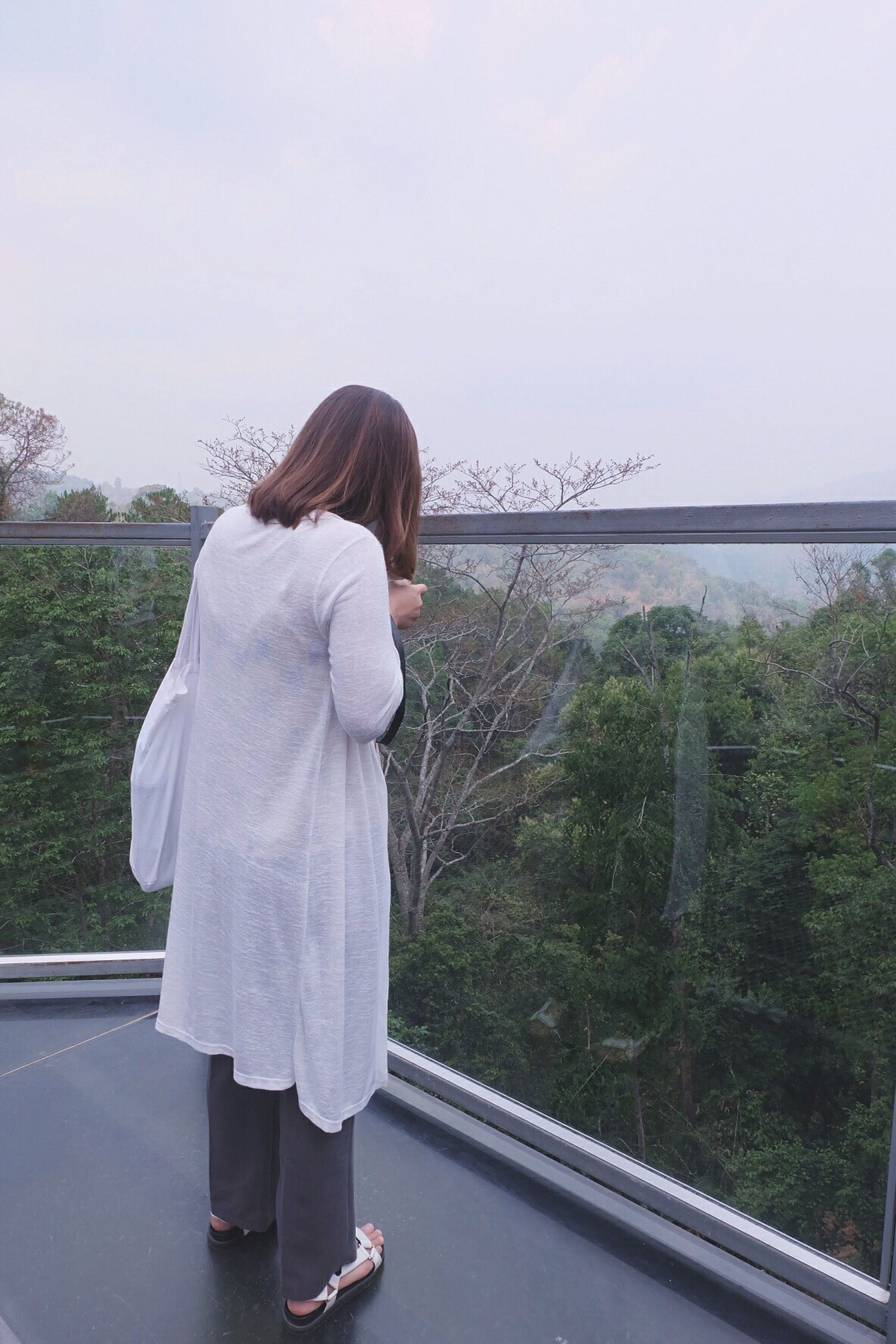 brown hair, rear view, one person, tranquility, full length, people, women, nature, day, outdoors, one woman only, adults only, water, young women, only women, adult, young adult, sky