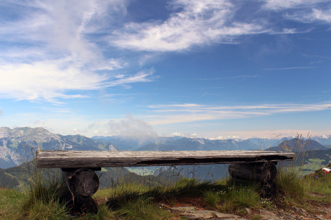 Alps Austria ❤ Beauty In Nature Bench Cloud - Sky Day Landscape Lonliness Mountain Mountain Peak Nature No People Outdoors OverviewPoint Seat Sky View
