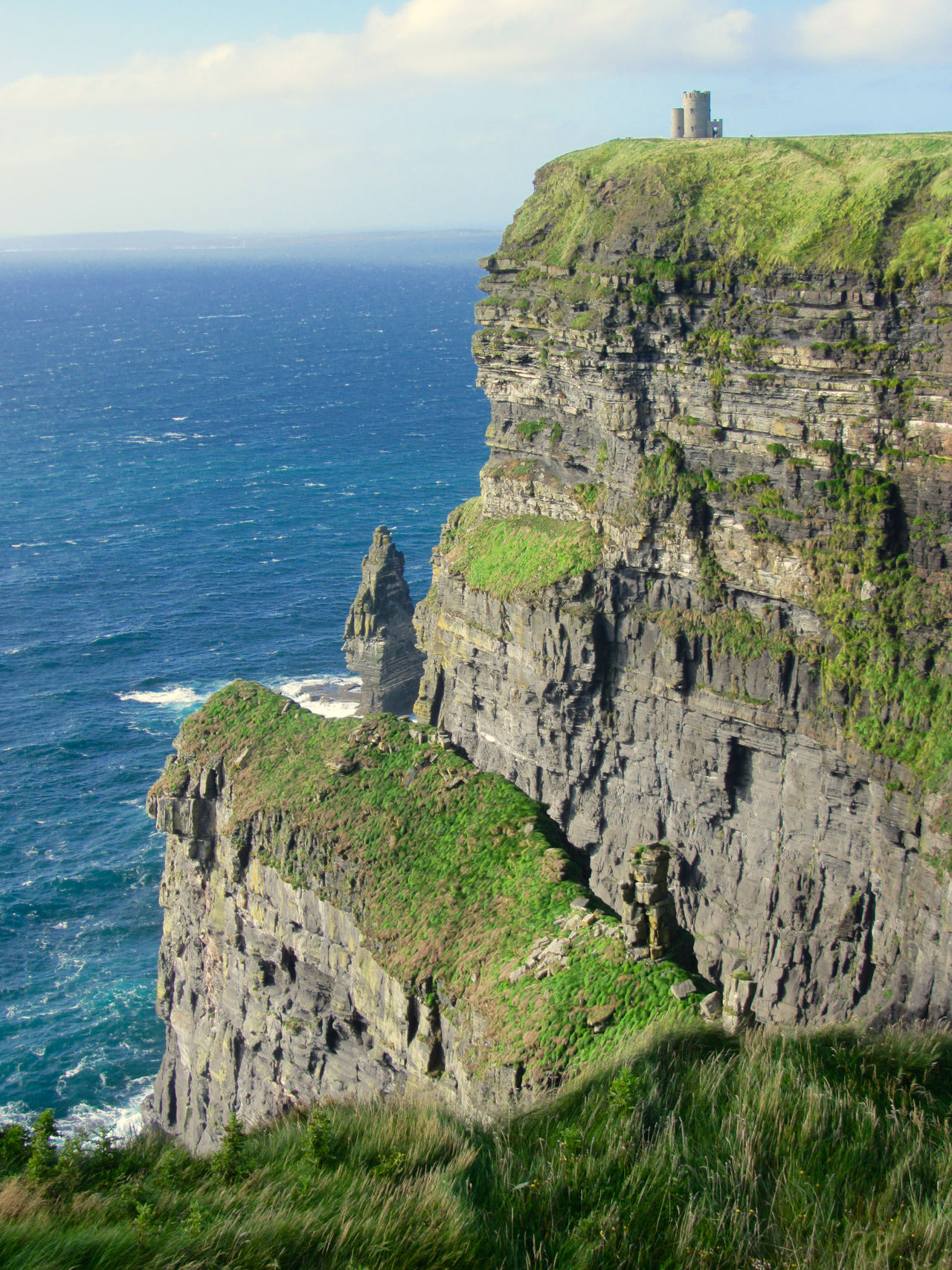 Atlantic Ocean Castle Cliff Cliffs Of Moher  Clouds Geology Grass Moss Nature Landscapes Ireland Outdoors Ocean View Physical Geography Rock Rock Formation Rocks Rough Sightseeing Sky Stone Tower Travel Photography Traveling Landscapes With WhiteWall