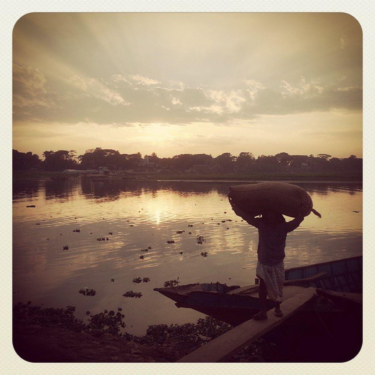 Boat Sunset River Daylaborer Labour Evening Calm