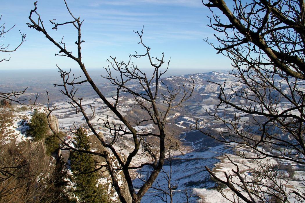 Beauty In Nature Branch Cold Temperature Day Europe Landscape Mountain Nature No People Outdoors San Marino Scenics Snow Tranquil Scene Tranquility Winter Wintertime Monte Titano