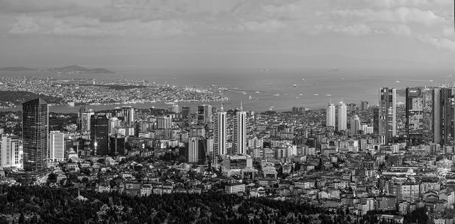 Istanbul Panorama Shot During Dusk From Highest Point in the City. The European and the Asian Sides of the City are visible. Back in the distance you can see the Prince Islands and there is visibility up to 100kms, out of the city. (black & white version A Bird's Eye View Aerial View Black And White Blackandwhite Capital Cities  City Lights Cityscape Cityscapes Clouds And Sky Crowded Financial District  Glowing High Angle View Istanbul Istanbul Turkey Landscape Landscape_Collection Monochrome Panorama Panoramic Residential District Skyline Skyscraper Skyscrapers Tourism