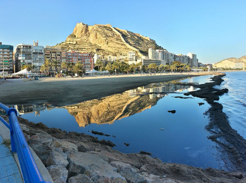 Nice Day Alicante Beach Buildings Castillo De Santa Bárbara Castle Castle Ruin Coast Coastline Life At The Beach Lifestyles Mirror Reflection Panoramic Coastline Sea Shore Water Water Mirror Water Reflection