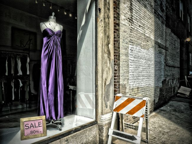 Dress and Streetsign Fashion Street Photography Streetphotography Street Fashion Street Sign Road Closed Store Window Mannequin Model Purple Dress:)dr Fashion Photography