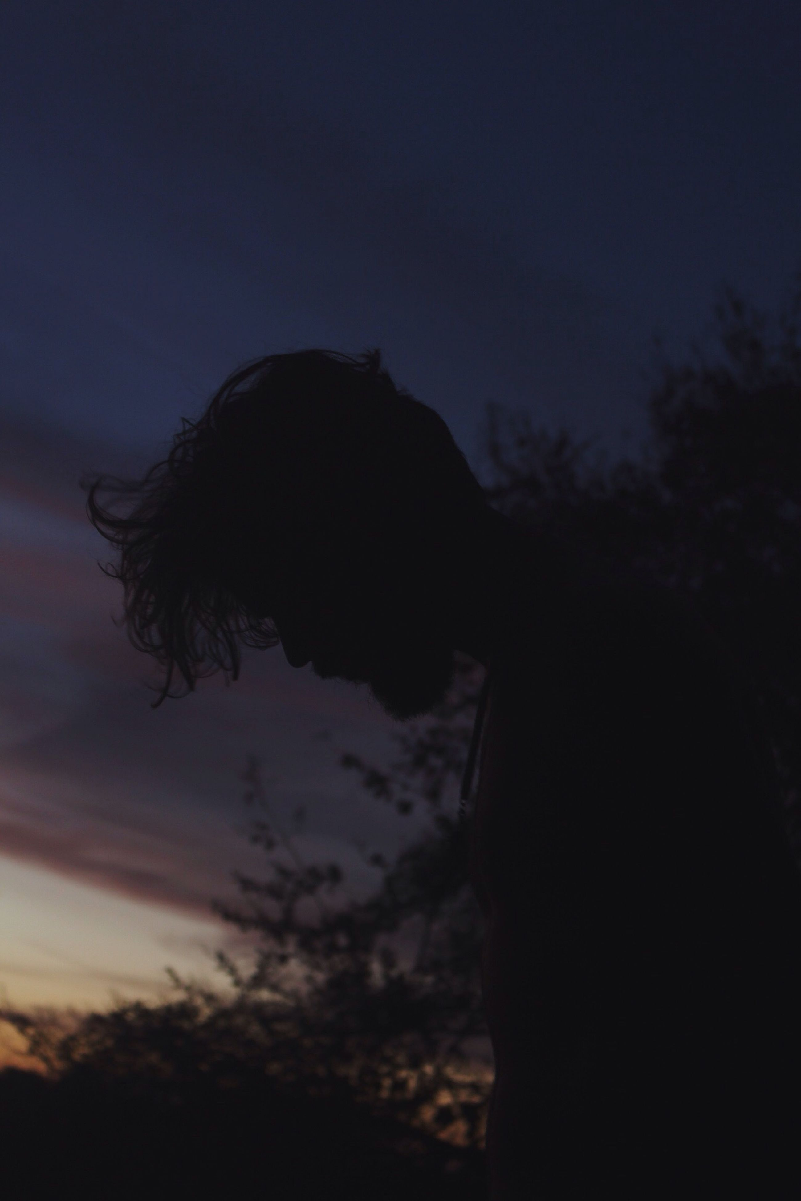 sky, silhouette, dusk, sunset, nature, outdoors, cloud - sky, one person, men, human body part, adult, night, people, human hand