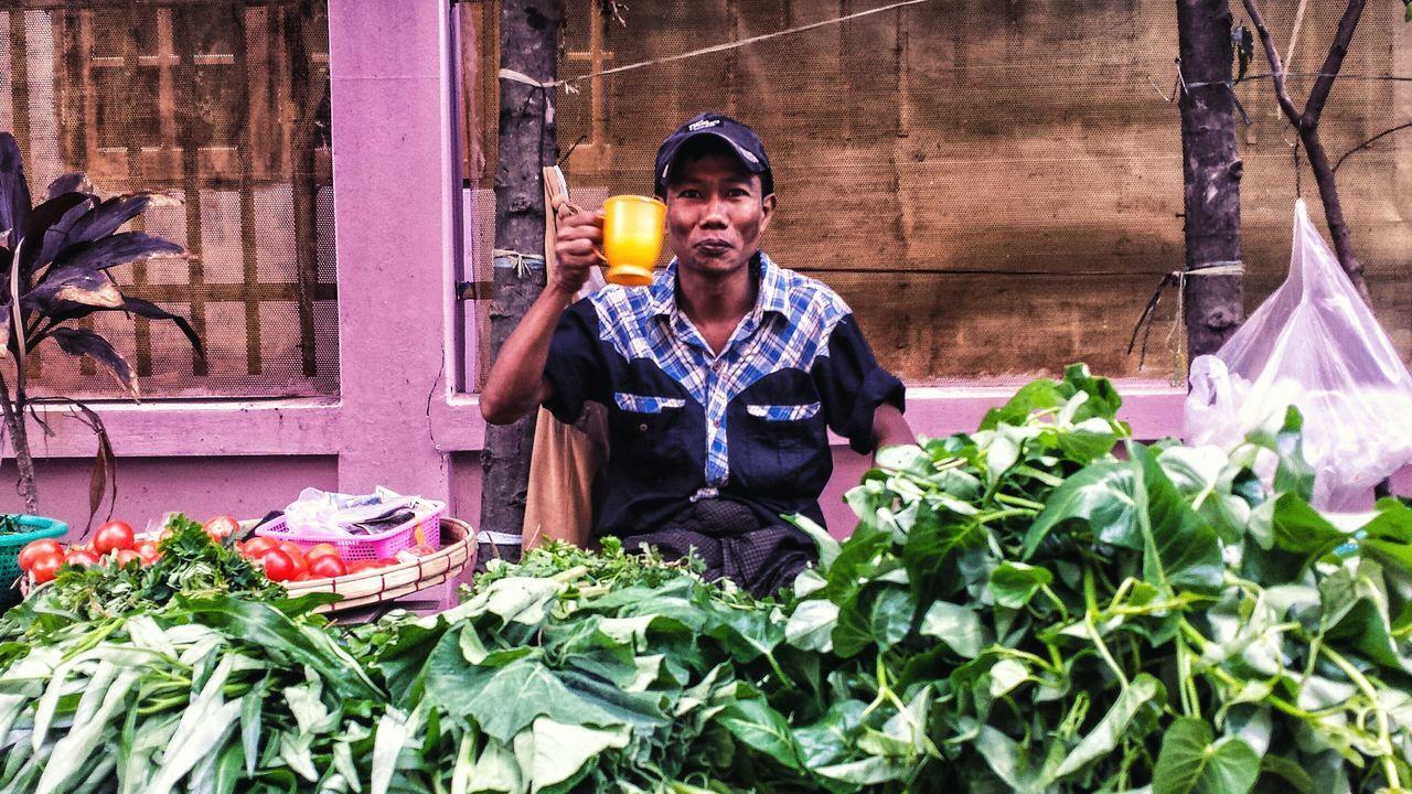 Coffee Morning Market Southeast Asia Street Yangon Street Scene City ASIA Burma Produce Vegetable Vendor Smile မြန်မာ ရန်ကုန် Streetfood Worldwide