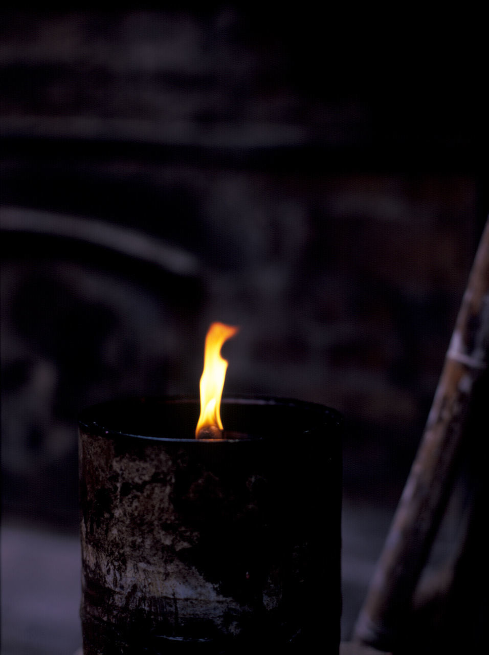 flame, burning, heat - temperature, close-up, no people, focus on foreground, night, indoors