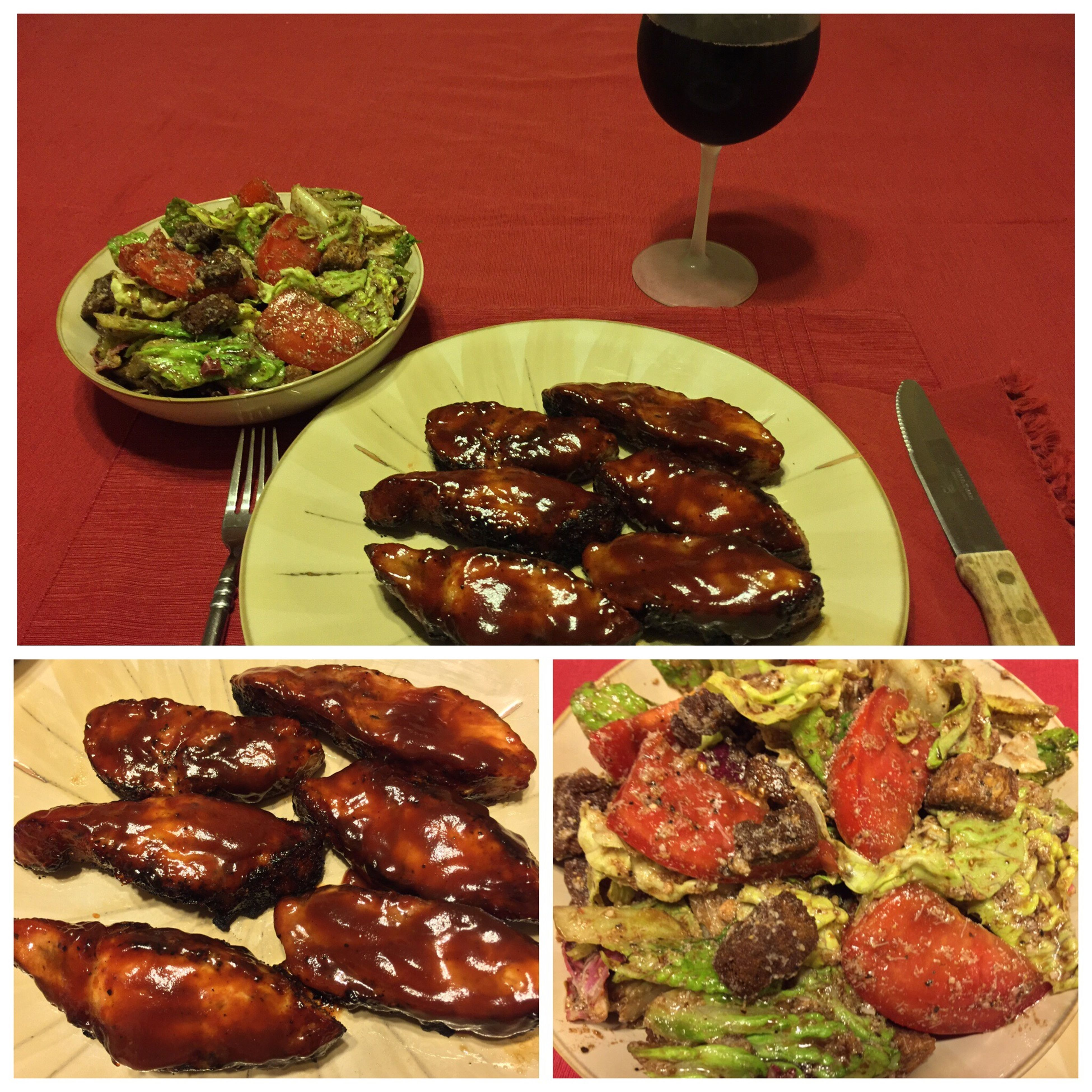Tonight, I grilled boneless pork ribs with a pineapple BBQ sauce. Served with a nice salad and my homemade 2013 Italian Barbera wine. ICanCookMyAssOff ItsAnItalianThing Grilling HomemadeItalianWine Nomnombomb Food Porn Awards MyFoodPics Food Porn