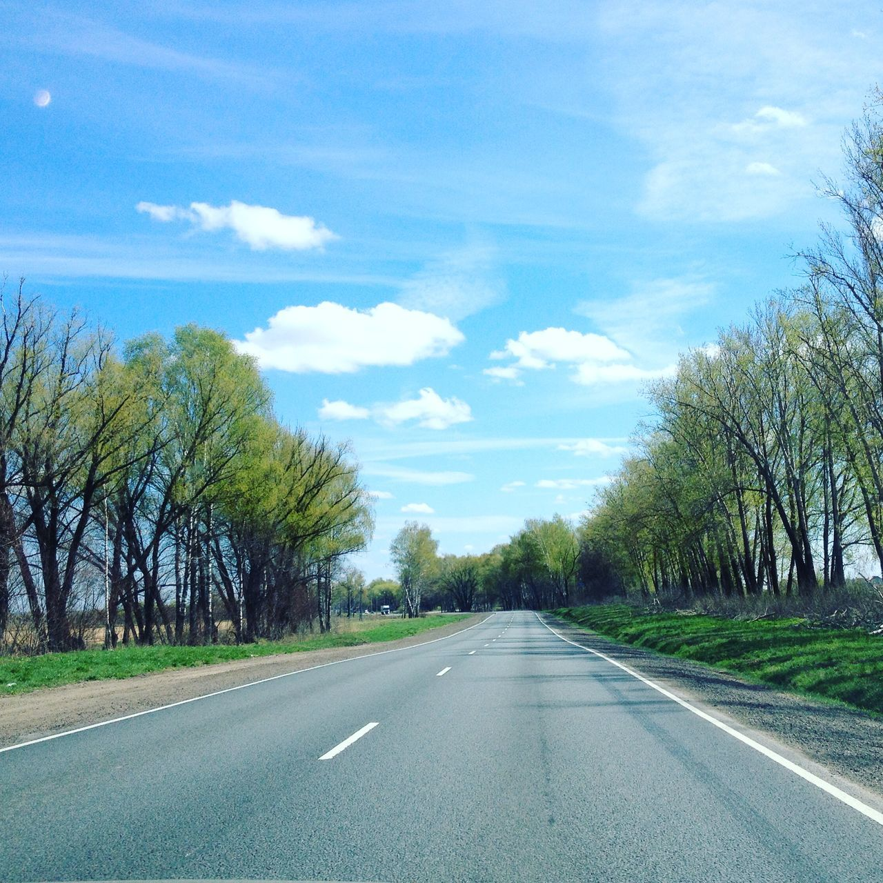 Asphalt Beauty In Nature Blue Car Car Point Of View Cloud - Sky Day Diminishing Perspective Dividing Line Journey Landscape Nature No People Outdoors Plant Road Road Marking Scenics Sky The Way Forward Tranquil Scene Tranquility Transportation Tree White Line