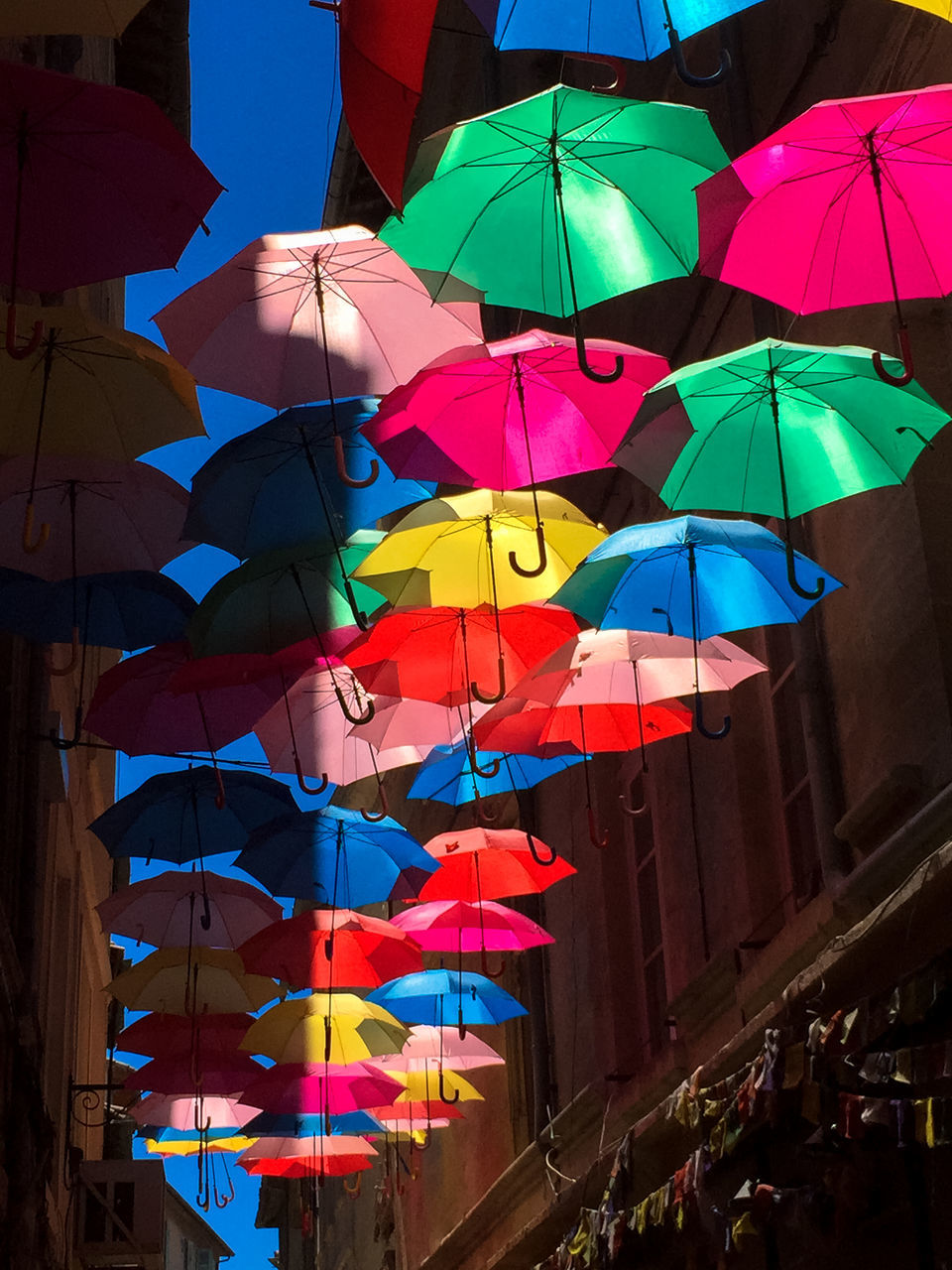 Umbrella Sky Abundance Blue Colorful Day Low Angle View Multi Colored No People Outdoors Parapluies Parasol Sky Umbrella