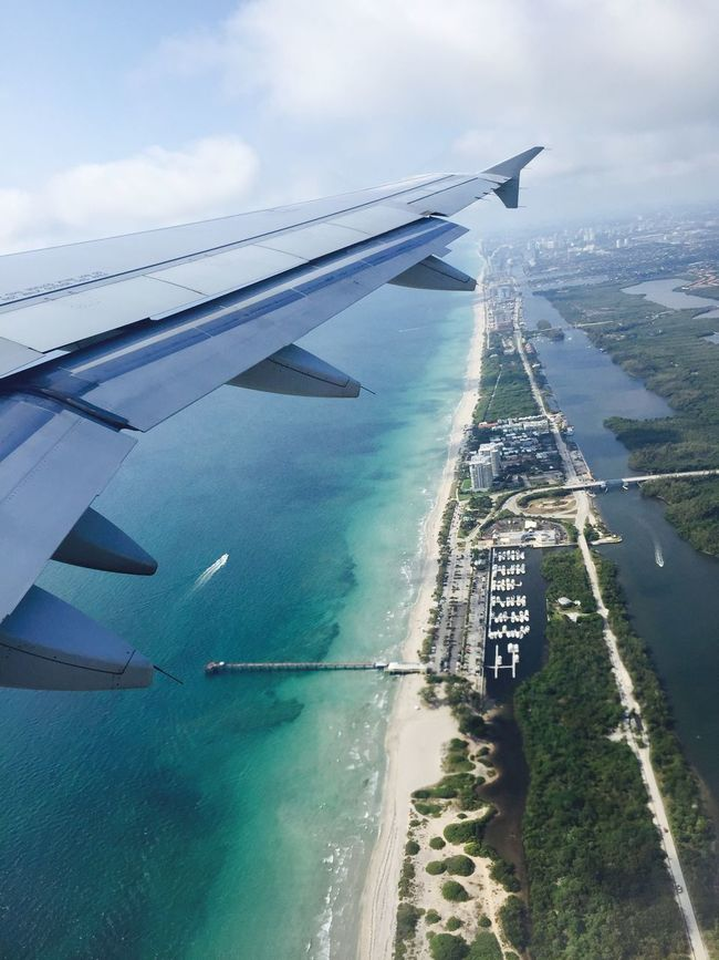 Sea Transportation Airplane Sky Water Nature No People Day Outdoors Scenics Horizon Over Water Beach Air Vehicle Beauty In Nature Architecture Airplane Wing Ft Lauderdale