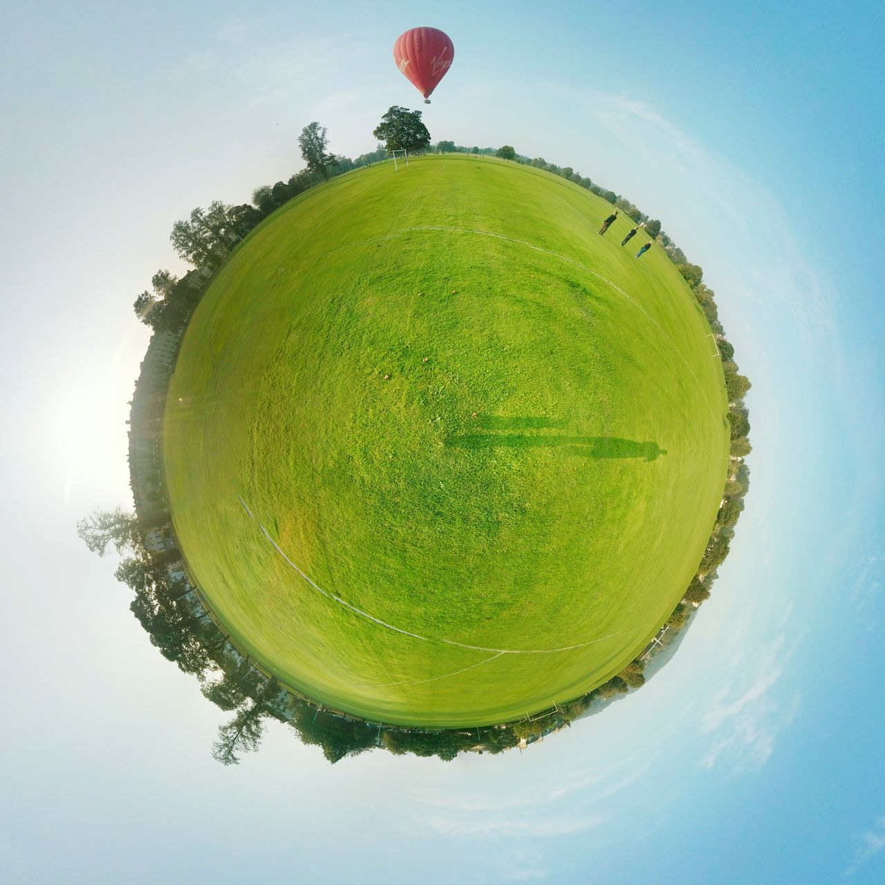 Balloon Leaving A Tiny Planet. Tree Sky Auto Post Production Filter Fish-eye Lens Hot Air Balloon Freshness Circle Floating Day Nature Large Scenics Majestic Geometric Shape Vacations First Eyeem Photo Tinyplanet Tinyplanetfx Hot Air Balloons Balloons Summer Blue Sky Abstract Perspective