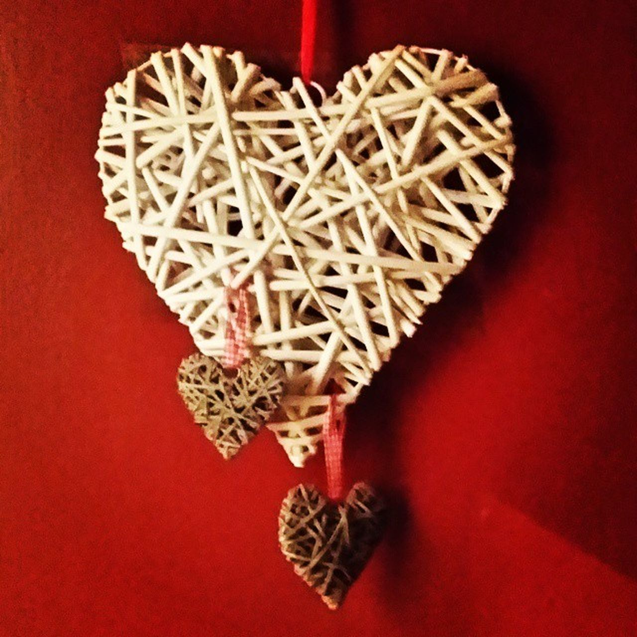 red, heart shape, love, christmas, indoors, still life, close-up, no people, red background, table, pattern, hanging, christmas decoration