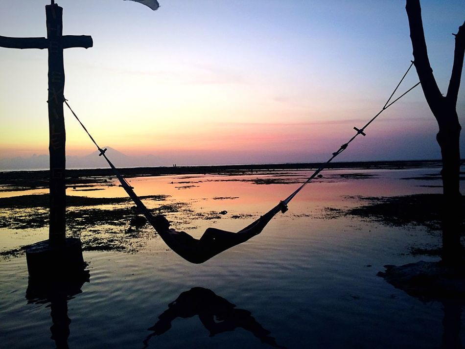 Hamak Sunset Relaxing Sky Colors Sun Gili Trawangan Island Paradise INDONESIA Blue Blue Sky Pink Reflection Chilling Capturing Freedom Sunset_collection Sunset Silhouettes Nature's Diversities People And Places