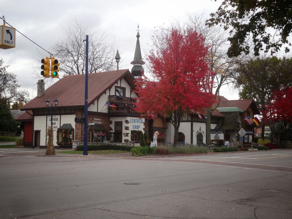 Sky City Building Exterior Red Tree Architecture No People Built Structure Cloud - Sky Illuminated Outdoors Day Frankenmuth Michigan Pure Michigan Nature_collection EyeEm Showcase March Nature Lover EyeEm Best Shots Autumn Colors German Village