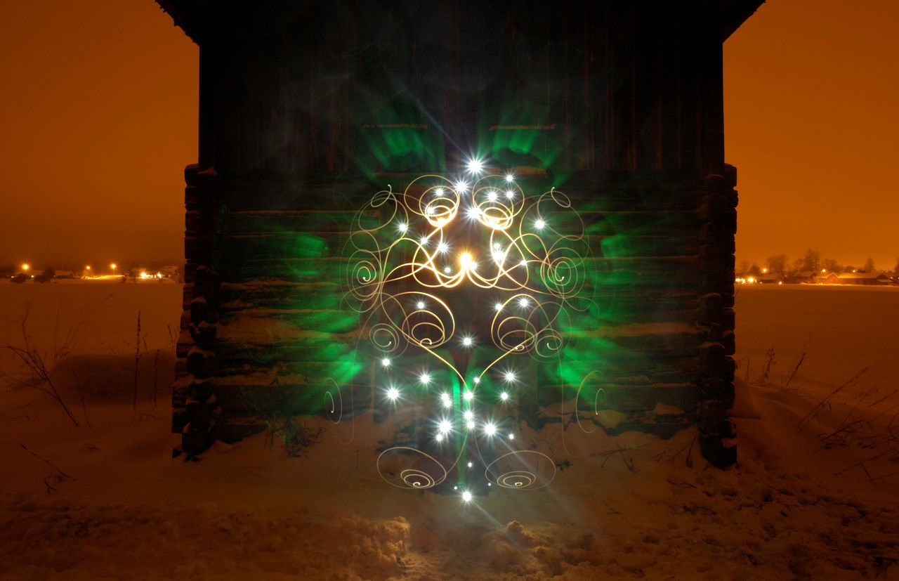 Light Painting, 209 sec Exposure Cottage Dalarna Dalecarlia December Green House LED Led Lights  Light Painting Light Painting Photography. Lightpainting Night No People Northern Europe Outdoors Scandinavia Shiny Snow Sweden Winter