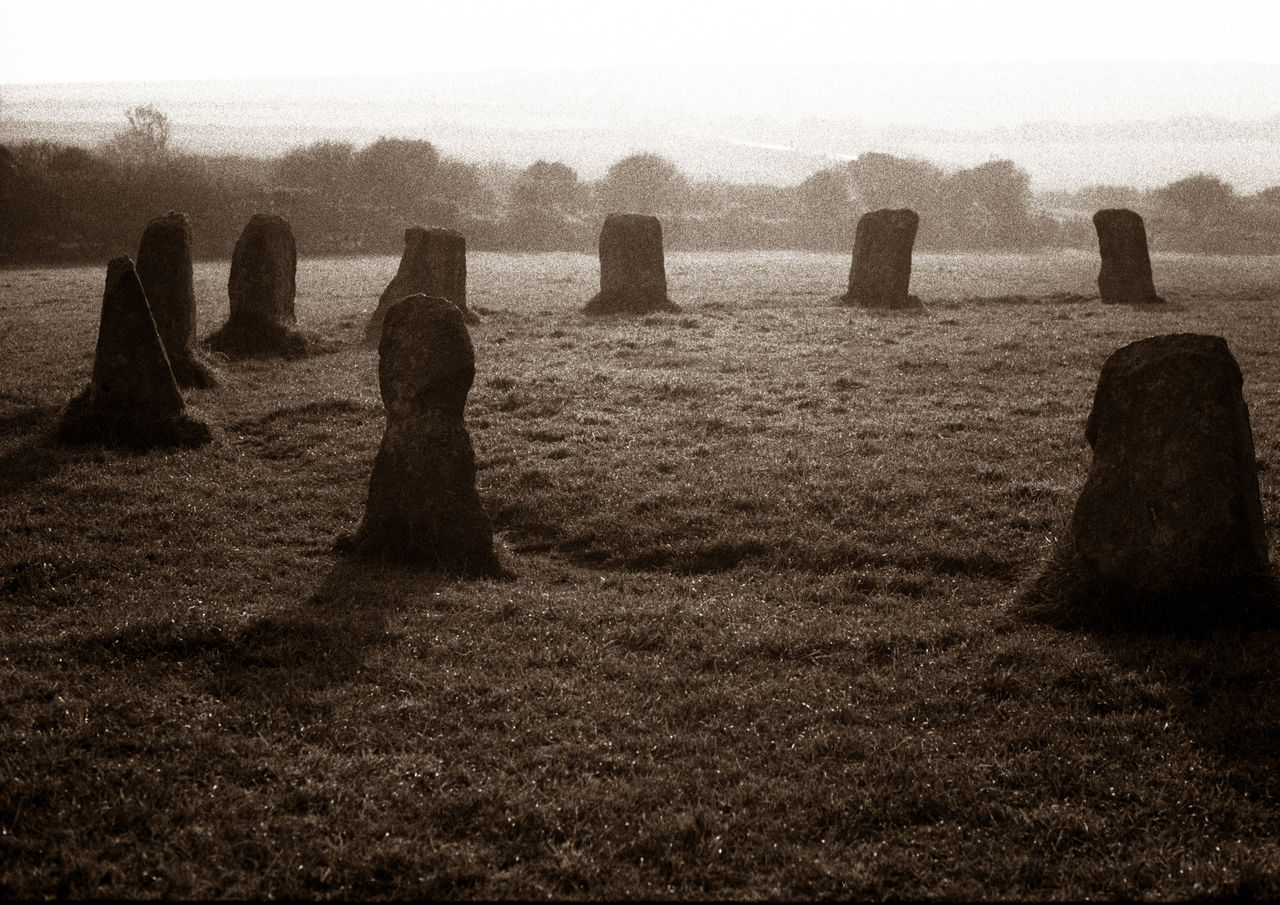 Black And White Contre Jour England EyeEmNewHere Grainy Ilford Xp2 400 Landscape Megalithic Merry Maidens Monochrome Standing Stones Stone Circle