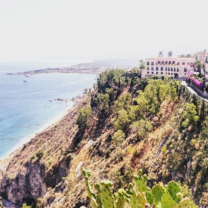 Taormina Sicily horizon over water Beach Cliff Beauty In Nature Day Outdoors