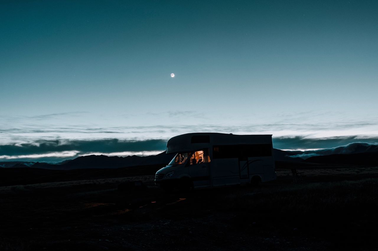 Sky Blue Transportation Landscape Land Vehicle No People Nature Outdoors Cloud - Sky Moon Scenics Beauty In Nature Night Nightphotography Night Photography Camping Camper Motorhome New Zealand