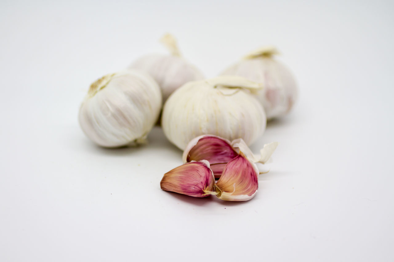 Blurry Background Close-up Focus On Foreground Freshness Garlic Garlic Bulb Garlic Clove Healthy Eating Indoors  Ingredient Isolated No People Shallow Depth Of Field Spice Studio Shot White Background