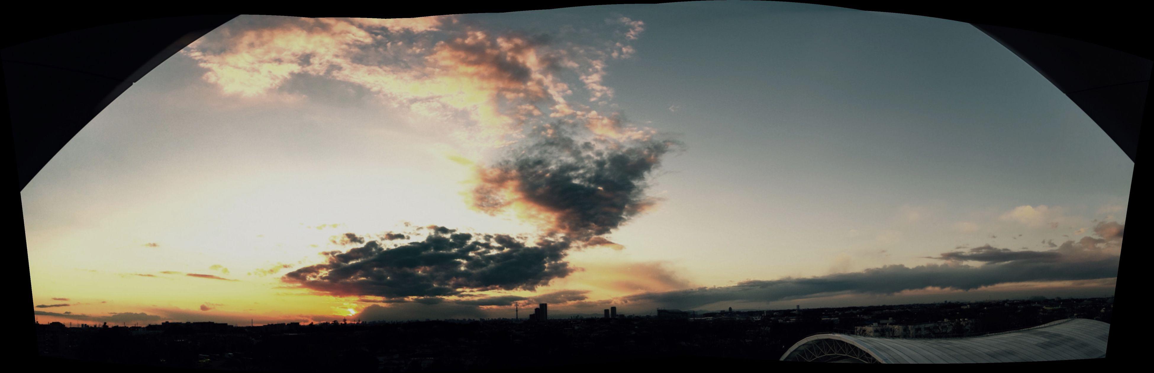 sky, sunset, cloud - sky, silhouette, beauty in nature, scenics, cloud, nature, cloudy, built structure, landscape, tranquil scene, architecture, tranquility, orange color, sun, dramatic sky, idyllic, weather, sunlight