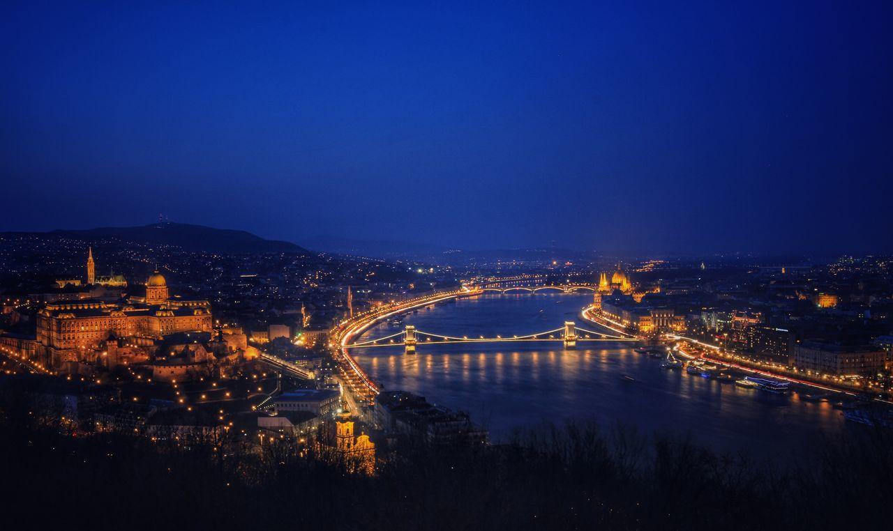 Blue Danube Budapest, Hungary Cityscapes Landscape Citadella River Central Europe Before Sunrise Blue Hour