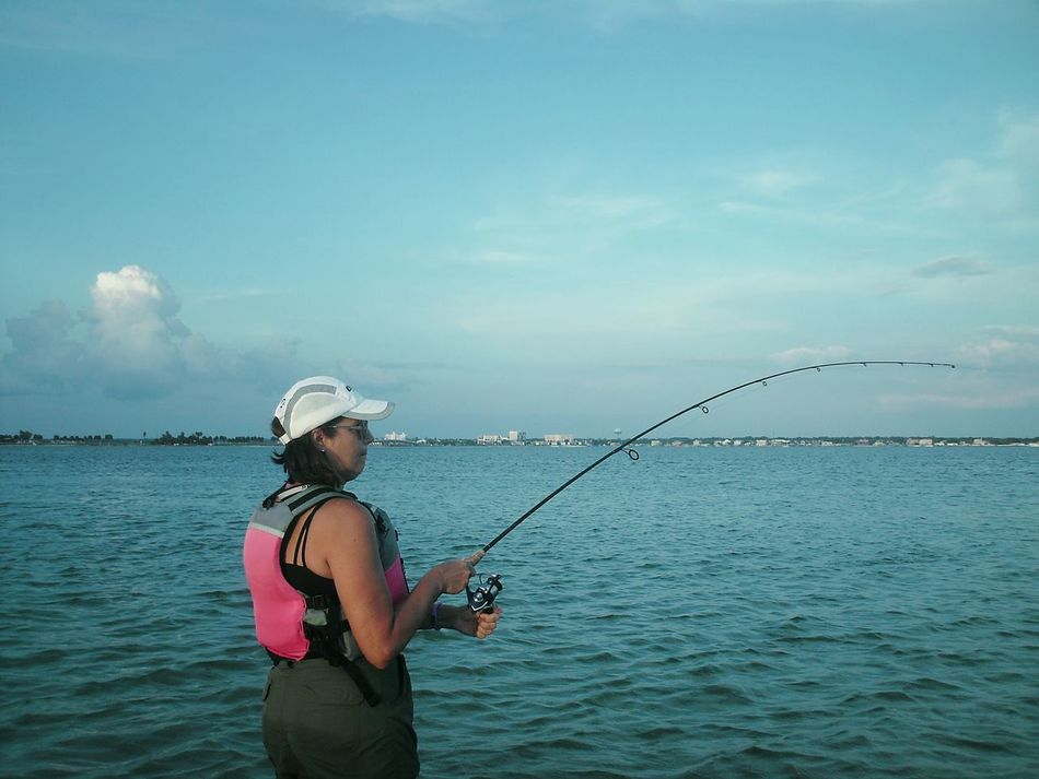 Florida Fishing Sportswoman Fisherman Watersports Weekend Activities Female Adult Female Fishing Florida Life Weekend Warrior People Real People Women Around The World