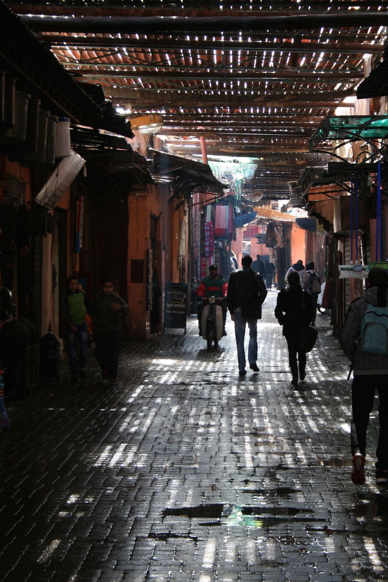 Market Marrakech Morocco Rain Rustic Style Shadow Souk Walking