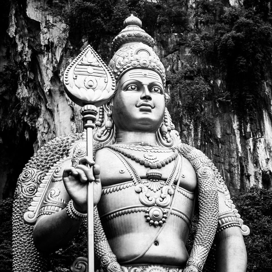Art And Craft Batu Caves Canon350D Crown Cultures Demon EyeEm Best Shots - Black + White God Golden Hindu Hindu Temple History MightY Murugan - Batu Caves Power Religion Saint Sculpture Smiling Soorapadam Statue Strong Thaipusam Tradition William Hornaday