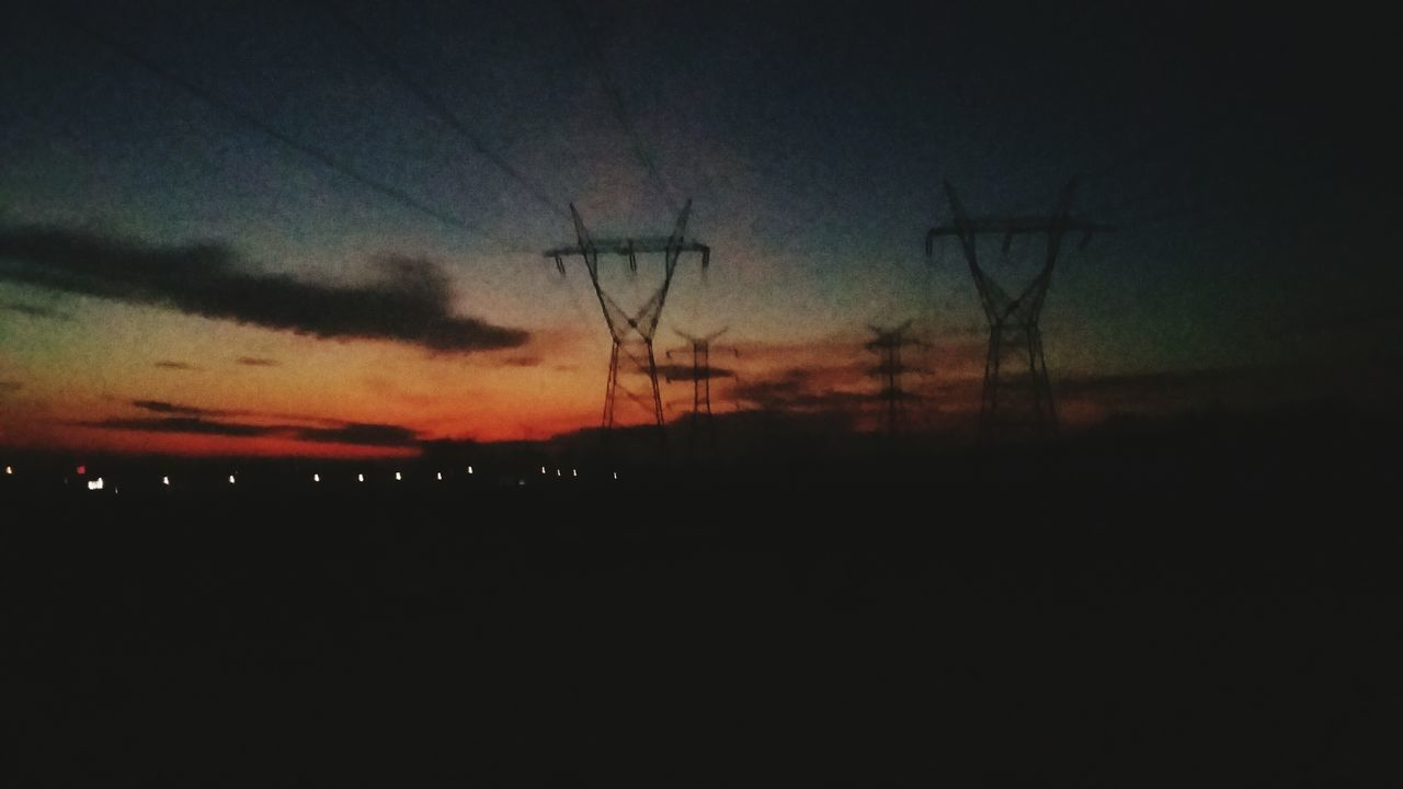 silhouette, sunset, electricity pylon, power line, electricity, sky, power supply, fuel and power generation, tranquility, scenics, tranquil scene, dark, beauty in nature, nature, cable, dusk, technology, connection, cloud - sky, landscape